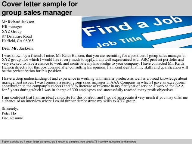 cover letter sample for group sales manager