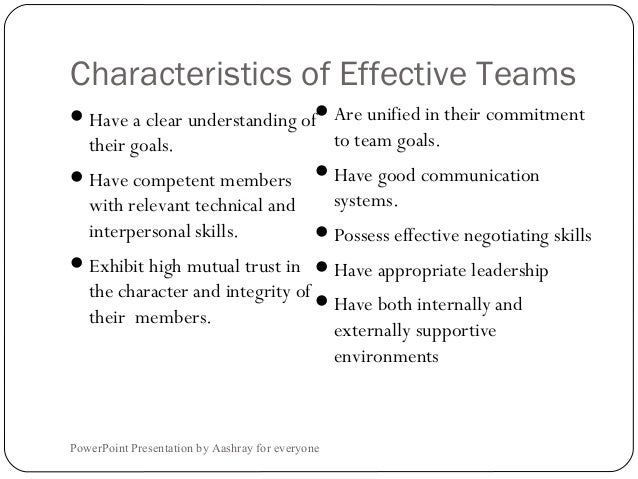 the characteristics of effective groups Group work: how to use groups effectively alison burke1 southern oregon university, ashland, or 97520 abstract make effective use of group work many students have never worked in a group before or lack the skills to work with others.