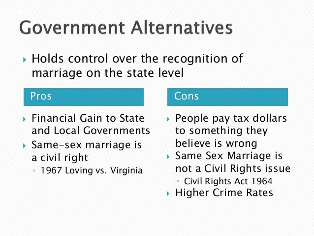 same sex marriage pros cons  financial gain to state and local governments  same sex marriage
