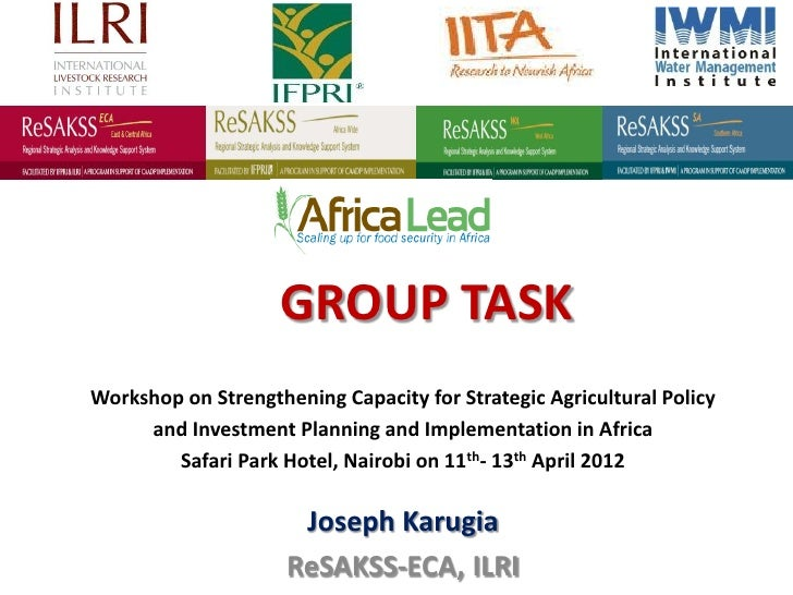 GROUP TASKWorkshop on Strengthening Capacity for Strategic Agricultural Policy     and Investment Planning and Implementat...