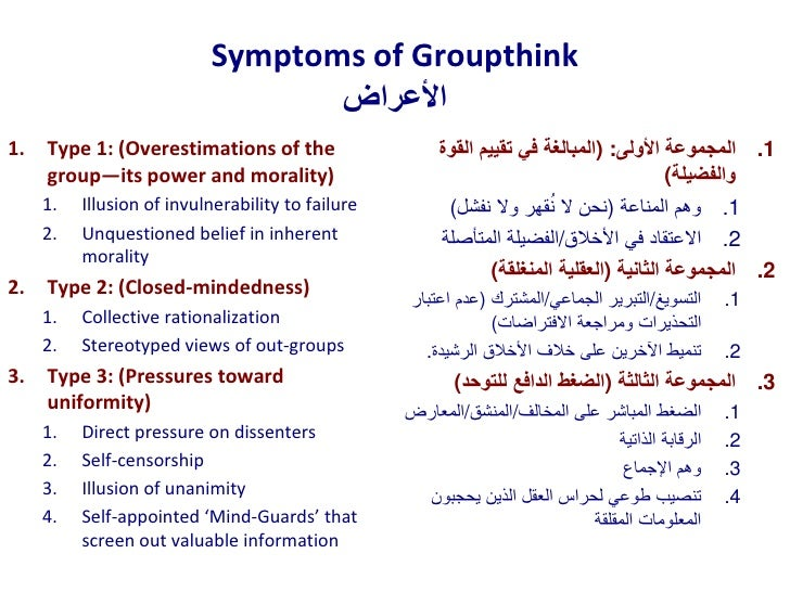 a description of groupthink and its eight symptoms The trouble with 'groupthink' in the psychologists for social responsibility offer this description  janis has documented eight symptoms of groupthink: 1.