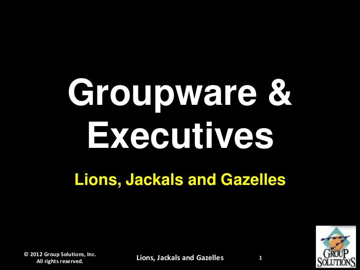 Groupware &                 Executives                   Lions, Jackals and Gazelles© 2012 Group Solutions, Inc.    All ri...
