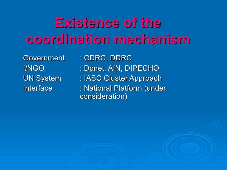 Existence of the coordination mechanism Government : CDRC, DDRC I/NGO : Dpnet, AIN, DIPECHO UN System : IASC Cluster Appro...