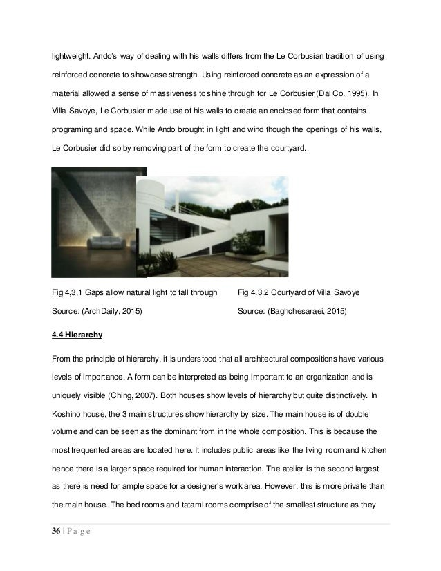 essay on villa savoye In the villa savoye this is translated through rectangular blocks of concrete, steel, and glass also in the fact that the villa savoye was designed to be viewed in multiple perspectives, like a cubist or purist painting that was fragmented into various segments to show the multiple views.