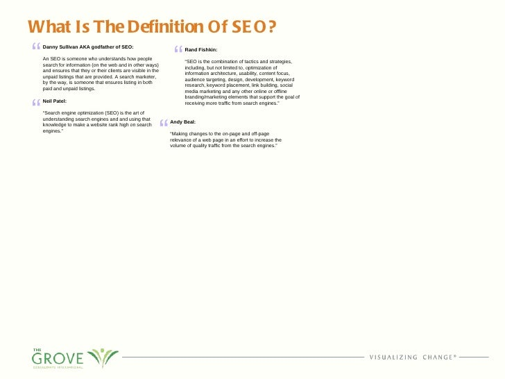 What Is The Definition Of SEO? Danny Sullivan AKA godfather of SEO: An SEO is someone who understands how people search fo...