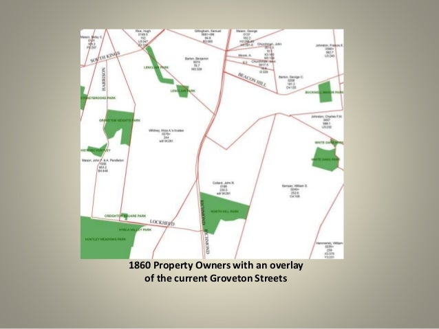 1860 Property Owners with an overlay  of the current Groveton Streets