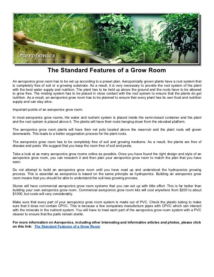 The Standard Features of a Grow Room