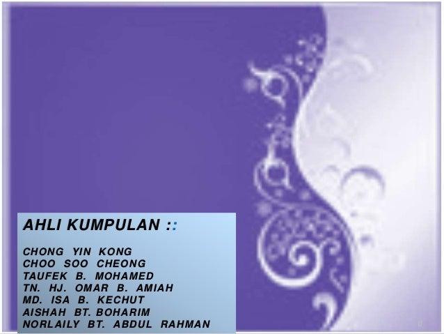 CONFIDENTIAL 0 AHLI KUMPULAN :: CHONG YIN KONG CHOO SOO CHEONG TAUFEK B. MOHAMED TN. HJ. OMAR B. AMIAH MD. ISA B. KECHUT A...