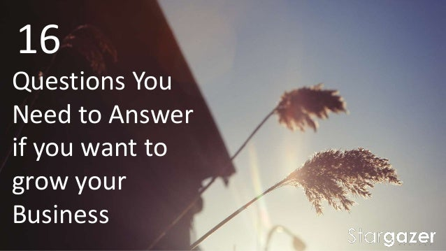 16 Questions You Need to Answer if you want to grow your Business