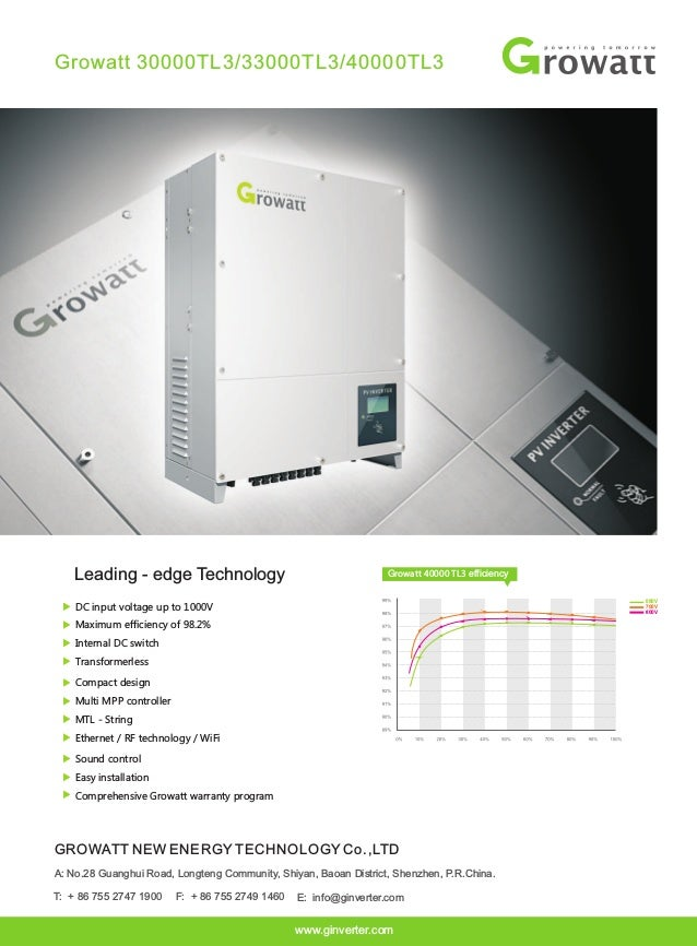 Growatt 30000TL3/33000TL3/40000TL3 DC input voltage up to 1000V Maximum efficiency of 98.2% Internal DC switch Transformer...