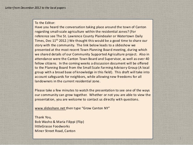 Letter from December 2012 to the local papers                      To the Editor:                      Have you heard the ...