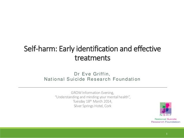 Self-harm: Early identification and effective treatments Dr Eve Griffin, National Suicide Research Foundation GROW Informa...