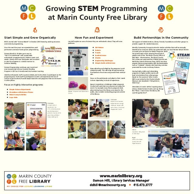 science technology engineering art math Growing STEM Programming at Marin County Free Library Start Simple and Grow Organi...