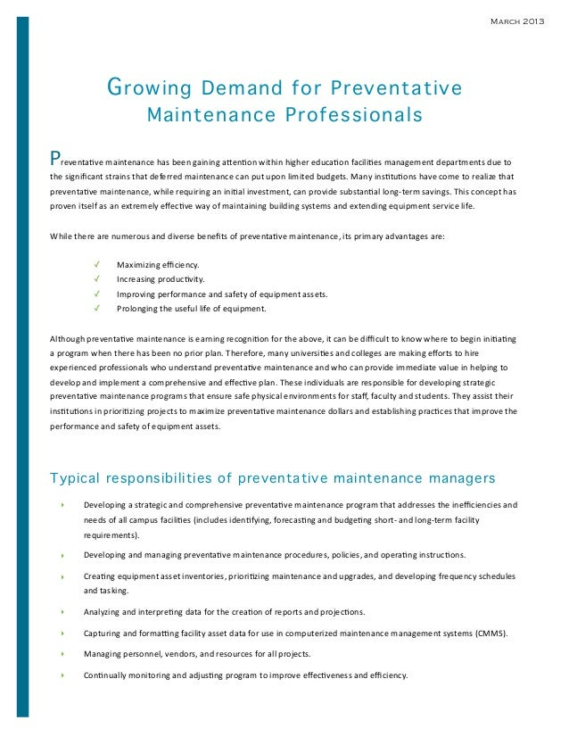 March 2013                     G rowing Demand for Preventative                                     Maintenance Profession...
