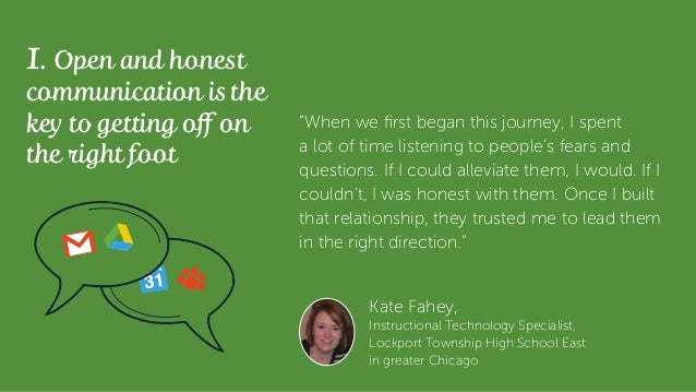 Kate Fahey, Instructional Technology Specialist, Lockport Township High School East in greater Chicago 1. Open and honest ...