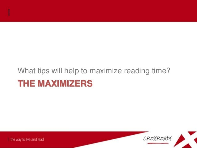 The Maximizers Put on your SPECS: S Sin to confess P Promise to claim E Example to follow C Command to obey S Service to r...
