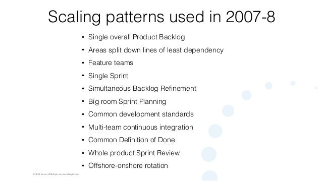 © 2015 Scrum WithStyle scrumwithstyle.com Scaling patterns used in 2007-8 • Single overall Product Backlog • Areas split d...
