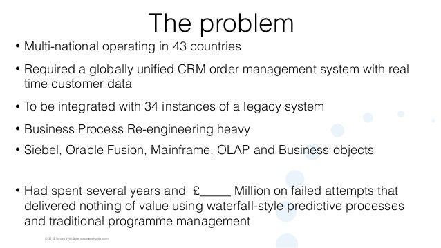 © 2015 Scrum WithStyle scrumwithstyle.com The problem • Multi-national operating in 43 countries • Required a globally uni...