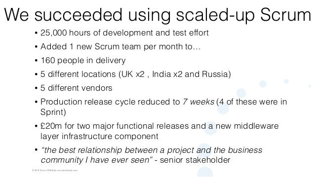 © 2015 Scrum WithStyle scrumwithstyle.com We succeeded using scaled-up Scrum • 25,000 hours of development and test effort...