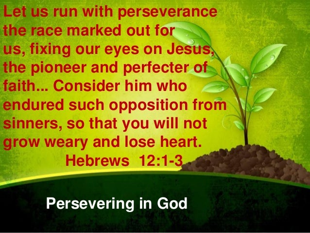 Let us run with perseverance the race marked out for us, fixing our eyes on Jesus, the pioneer and perfecter of faith... C...