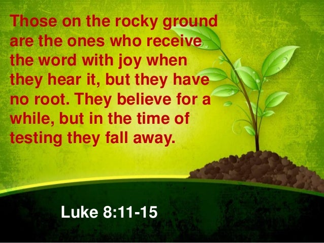 Those on the rocky ground are the ones who receive the word with joy when they hear it, but they have no root. They believ...
