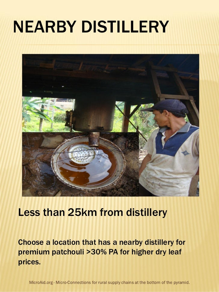 NEARBY DISTILLERYLess than 25km from distilleryChoose a location that has a nearby distillery forpremium patchouli >30% PA...