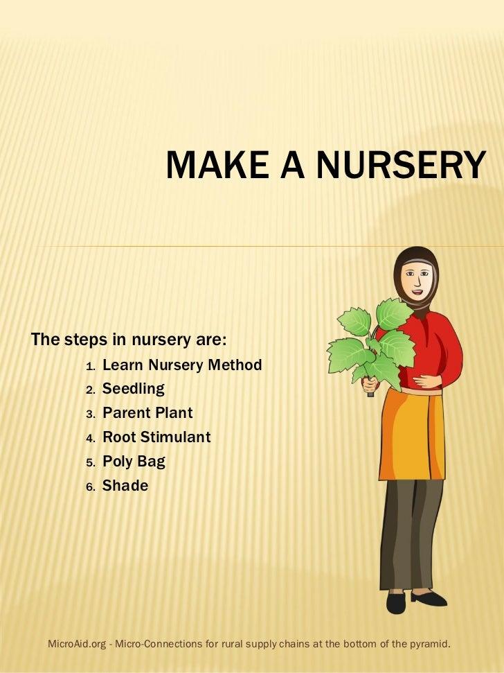 MAKE A NURSERYThe steps in nursery are:          1.   Learn Nursery Method          2.   Seedling          3.   Parent Pla...