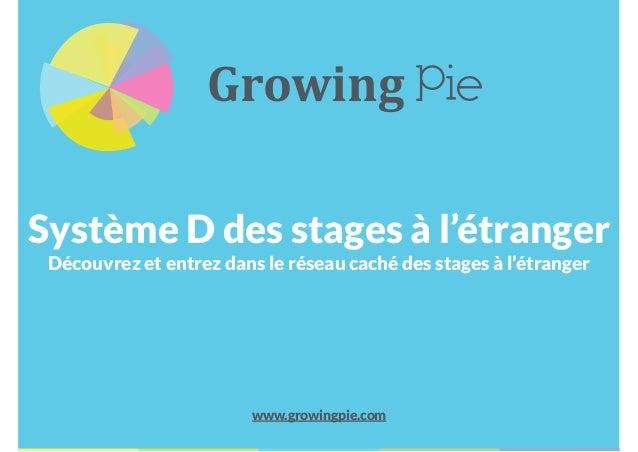 Système D des stages à l'étranger Découvrez et entrez dans le réseau caché des stages à l'étranger www.growingpie.com Grow...