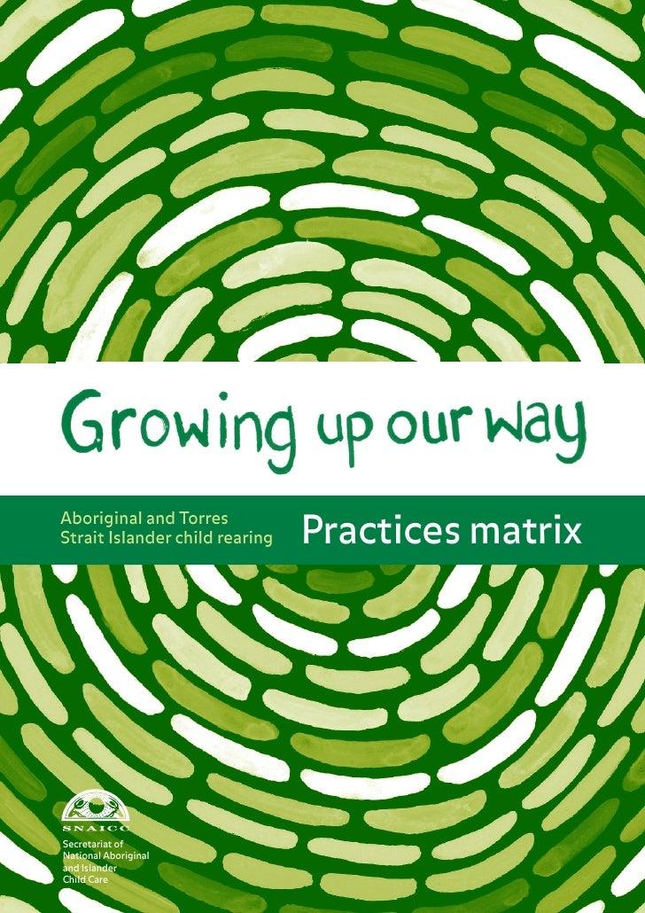 Practices matrixAboriginal and TorresStrait Islander child rearingSecretariat ofNational Aboriginal 1and IslanderChild Care