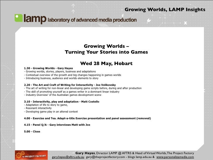 Growing Worlds, LAMP Insights                                              Growing Worlds –                               ...