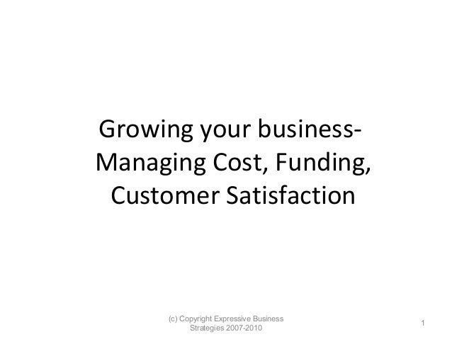 Growing your businessManaging Cost, Funding, Customer Satisfaction  (c) Copyright Expressive Business Strategies 2007-2010...