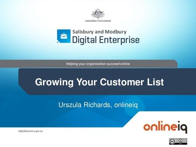 Urszula Richards, onlineiq Salisbury and Modbury Growing Your Customer List