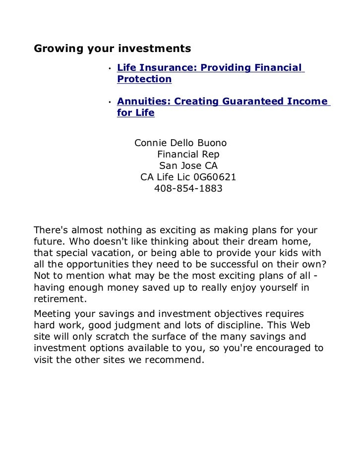 Growing your investments               •   Life Insurance: Providing Financial                   Protection               ...