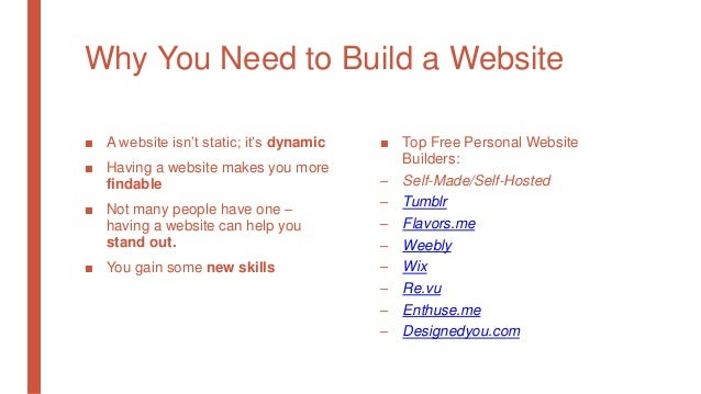 Why You Need to Build a Website ■ A website isn't static; it's dynamic ■ Having a website makes you more findable ■ Not ma...
