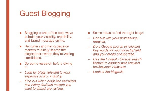 Guest Blogging ■ Blogging is one of the best ways to build your visibility, credibility, and brand message online. ■ Recru...