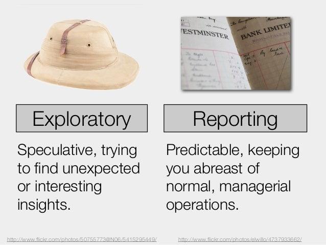 Exploratory                                          Reporting   Speculative, trying                                 Predi...