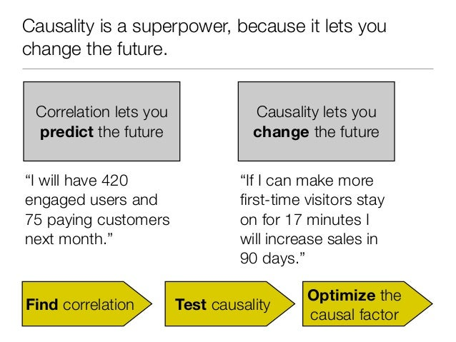 Causality is a superpower, because it lets youchange the future. Correlation lets you              Causality lets you pred...