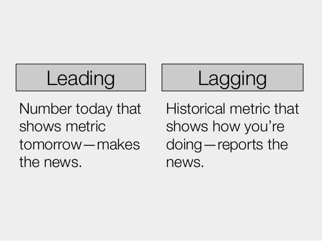 Leading               LaggingNumber today that   Historical metric thatshows metric        shows how you'retomorrow—makes ...
