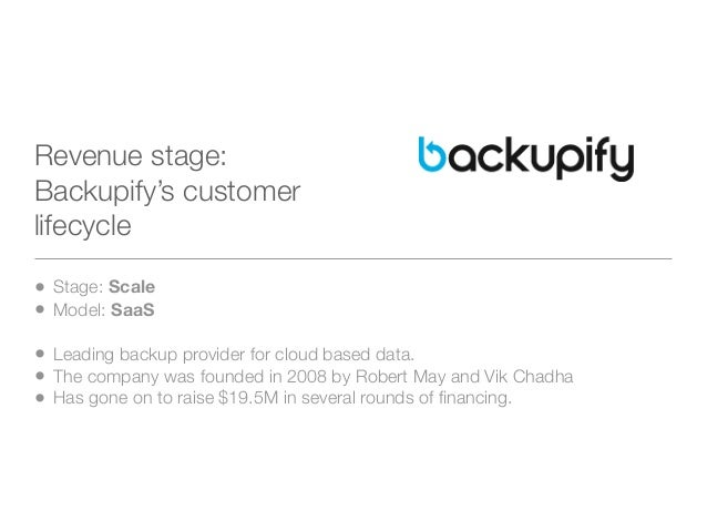 Revenue stage:Backupify's customerlifecycle• Stage: Scale• Model: SaaS• Leading backup provider for cloud based data.• The...