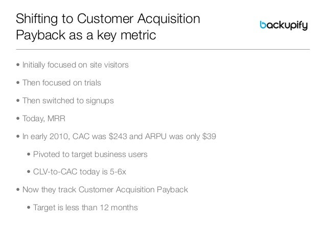 Shifting to Customer AcquisitionPayback as a key metric• Initially focused on site visitors• Then focused on trials• Then ...