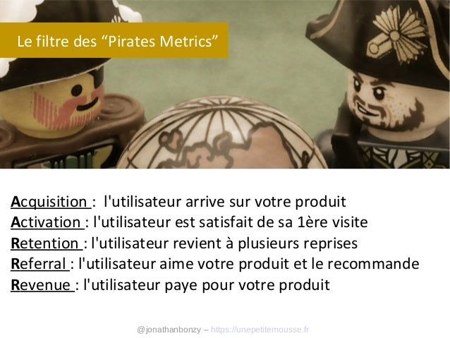 """Le filtre des """"Pirates Metrics""""  Acquisition : l'utilisateur arrive sur votre produit Activation : l'utilisateur est satis..."""