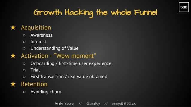 """Andy Young // @andyy // andy@500.co ★ Acquisition ○ Awareness ○ Interest ○ Understanding of Value ★ Activation - """"Wow mome..."""