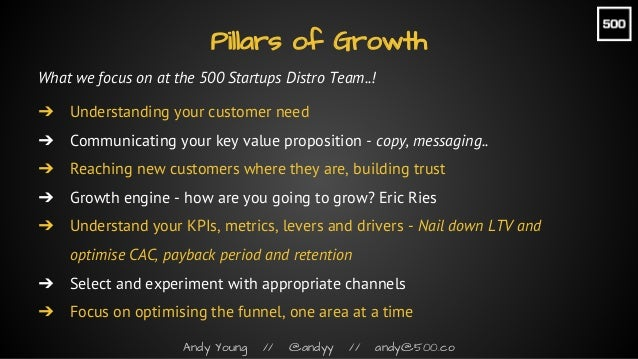 Andy Young // @andyy // andy@500.co What we focus on at the 500 Startups Distro Team..! ➔ Understanding your customer need...