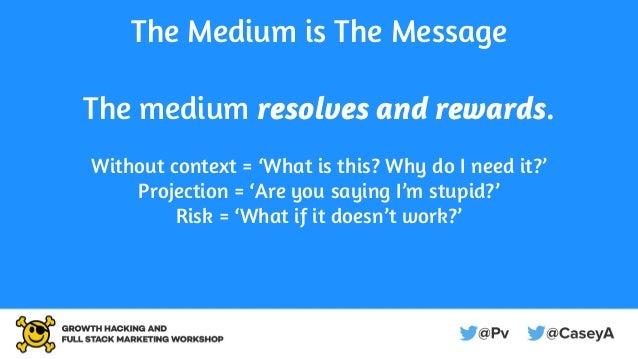 The Medium is The Message The medium resolves and rewards. Without context = 'What is this? Why do I need it?' Projection ...