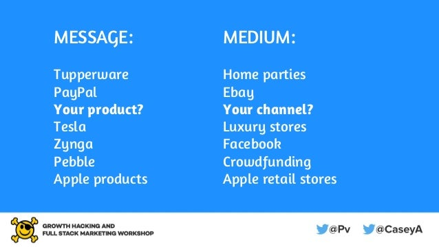 MESSAGE: Tupperware PayPal Your product? Tesla Zynga Pebble Apple products MEDIUM: Home parties Ebay Your channel? Luxury ...