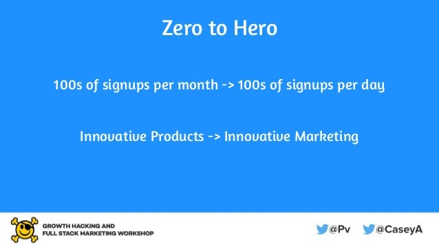 Zero to Hero 100s of signups per month -> 100s of signups per day Innovative Products -> Innovative Marketing