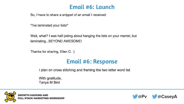 Email #6: Launch Email #6: Response