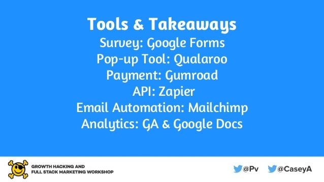 Tools & Takeaways Survey: Google Forms Pop-up Tool: Qualaroo Payment: Gumroad API: Zapier Email Automation: Mailchimp Anal...
