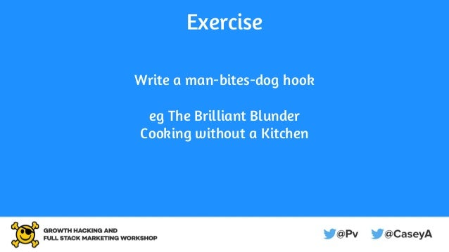 Exercise Write a man-bites-dog hook eg The Brilliant Blunder Cooking without a Kitchen