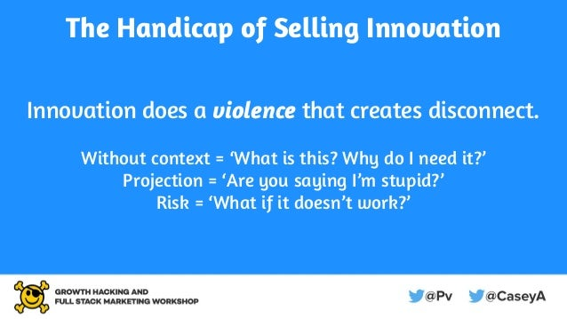 The Handicap of Selling Innovation Innovation does a violence that creates disconnect. Without context = 'What is this? Wh...